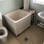 バスルーム。トイレ、洗面台、お風呂が一緒です。床が一段下がっています。