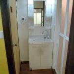左側がトイレの扉、洗面台、右側が浴室